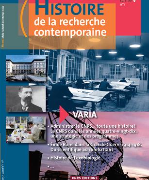 Histoire de la recherche contemporaine : numéro V-1